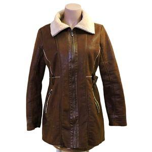 Point zero faux shearling trench coat size Medium